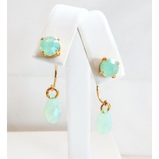 Mint chrysolite opal crystal earring jackets and posts