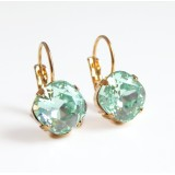 Mint chrysolite green square crystal leverback earrings