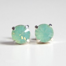 Mint chrysolite opal crystal earring - round
