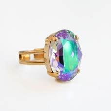 Multi-colored oval crystal cocktail ring in Paradise Shine
