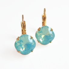Mint pacific opal small square crystal leverback earrings