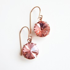Rose gold and peach round crystal earrings