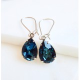 Blue navy crystal pear stone earrings