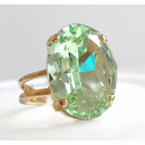 Mint chrysolite green oval crystal cocktail ring