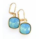 Mint pacific opal crystal square stone leverback earrings