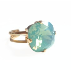 Mint pacific opal crystal square stone ring