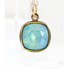 Mint pacific opal crystal square stone necklace
