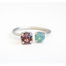 Silver crystal open ring with Swarovski crystals