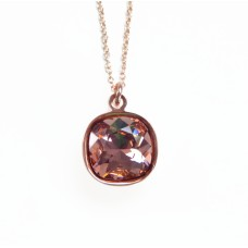 Rose gold and blush crystal necklace