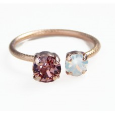 Rose gold crystal open ring with Swarovski crystals
