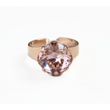 Rose gold crystal ring wide band with rose gold crystal