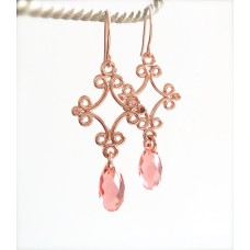 Rose gold ornate dangle and crystal earrings