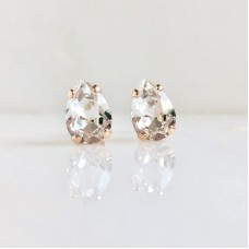 Clear crystal pear stone stud earrings on rose gold