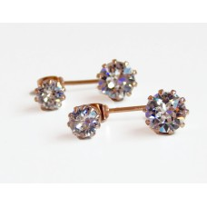 Rose gold crown ear jacket earrings