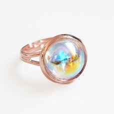 Crystal clear ab bubble and rose gold adjustable ring