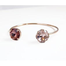 Rose gold open cuff crystal bangle bracelet in blush