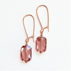 Rose gold and blush emerald cut earrings