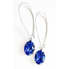 Blue sapphire oval long drop earrings