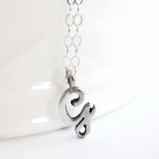 Initial script letter sterling silver necklace