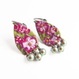 Floral hand painted earrings with Swarovski pearls