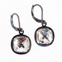 Clear crystal and gunmetal earrings - as seen on the show BrainDead