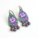 Floral purple and green hand painted  earrings