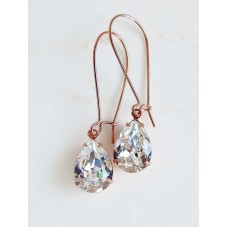 Clear crystal pear stone earrings on rose gold