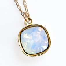 White opal square stone crystal necklace